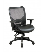 Office Star Professional Mesh-Back Layered Leather Mid-Back Office Chair (Model 68-50764)