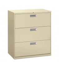 """HON Brigade 683LL 3-Drawer 36"""" Wide Lateral File Cabinet, Letter & Legal Size, Putty"""