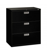 "HON Brigade 683LP 3-Drawer 36"" Wide Lateral File Cabinet, Letter & Legal Size, Black"