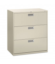 """HON Brigade 683LQ 3-Drawer 36"""" Wide Lateral File Cabinet, Letter & Legal Size, Light Gray"""