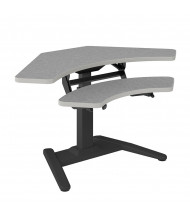 """Mayline LTW 25"""" - 41.5"""" H Electric Height Adjustable Corner Standing Desk With Keyboard Surface (Fog Grey)"""