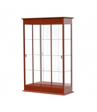 "Waddell Varsity 691K Series Sliding Door Lighted Floor Display Case 48""W x 77""H x 18""D (Shown as Cherry Oak / Mirror Back)"