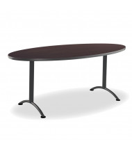 "Iceberg ARC 72"" W x 36"" D Oval Plastic Utility Table (Shown in Walnut)"