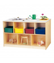 Jonti-Craft Mobile Twin Cubbie Classroom Island Storage with Clear Trays (front shown with colored trays, example of use)