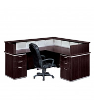 DMI Pimlico 7020 L-Shaped Pedestal Reception Desk with Frosted Glass Accents, Left Return