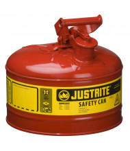 Justrite Type I 2.5 Gallon Self-Closing Lid Steel Safety Can (Shown in Red)