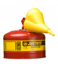 Justrite Type I 2.5 Gallon Self-Closing Lid Steel Safety Can with Funnel (Shown in Red)