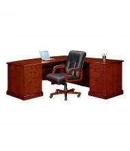 """DMI Belmont 72"""" W Executive L-Shaped Bow Front Double Pedestal Office Desk"""