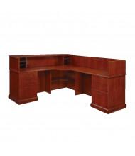 DMI Belmont L-Shaped Double Pedestal Reception Desk, Right Return, Brown Cherry