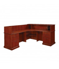 DMI Belmont L-Shaped Double Pedestal Reception Desk, Left Return, Brown Cherry