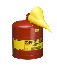 Justrite Type I 5 Gallon Self-Closing Lid Steel Safety Can (Shown in Red)