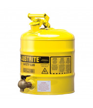 Justrite 7150240 Type I Bottom 08540 Faucet 5 Gallon Shelf Safety Can, Yellow