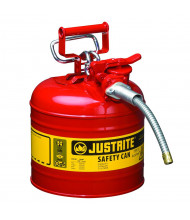 "Justrite Type II AccuFlow 2 Gallon 5/8"" Hose Steel Safety Can (Shown in Red)"
