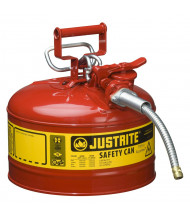 "Justrite Type II AccuFlow 2.5 Gallon 5/8"" Hose Steel Safety Can (Shown in Red)"