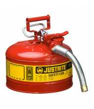 "Justrite Type II AccuFlow 2.5 Gallon 1"" Hose Steel Safety Can (Shown in Red)"