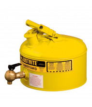 Justrite 7225240 Type I Bottom 08540 Faucet 2.5 Gallon Shelf Safety Can, Yellow