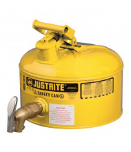 Justrite 7225250 Type I Bottom 08902 Faucet 2.5 Gallon Shelf Safety Can, Yellow