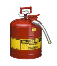 "Justrite Type II AccuFlow 5 Gallon 1"" Hose Steel Safety Can (Shown in Red)"