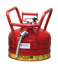 "Justrite 7325120 Type II AccuFlow DOT 2.5 Gallon Steel Safety Can, 5/8"" Hose, Red"