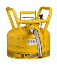 "Type II AccuFlow DOT 2.5 Gallon Steel Safety Can, 1"" Hose, Yellow"