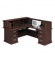 DMI Governors 7350 L-Shaped Double Pedestal Reception Desk with Privacy Hutch, Right Return