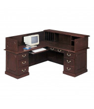 DMI Governors 7350 L-Shaped Double Pedestal Reception Desk with Privacy Hutch, Left Return