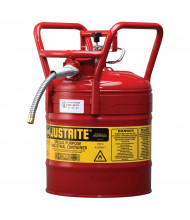 """Type II AccuFlow DOT 5 Gallon 5/8"""" Hose Roll Bar Steel Safety Can, Red"""