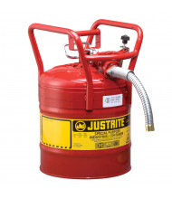 "Justrite 7350130 Type II AccuFlow DOT 5 Gallon Steel Safety Can, 1"" Hose, Red"