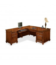 "DMI Antigua 72"" W L-Shaped Straight Front Double Pedestal Office Desk"