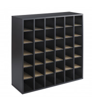Safco 36-Compartment Stackable Wood Mail Sorter, Black