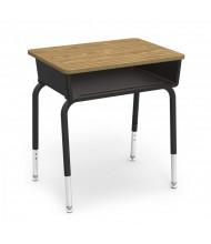 "Virco 24"" x 18"" Open Front Plastic Book Box Adjustable Height Student Desk, Set of 2 (medium oak)"