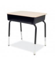 "Virco 24"" x 18"" Open Front Plastic Book Box Student Desk, Set of 2"