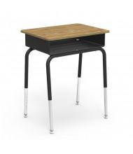 """Virco 24"""" x 18"""" Open Front Metal Book Box Adjustable Height Student Desk, Set of 2 (medium oak)"""