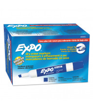 Expo Low-Odor Dry Erase Marker, Chisel Tip, Blue, 12-Pack
