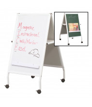 "Best-Rite 803 MICE Wheasel 21"" x 33"" Magnetic Whiteboard / Chalkboard Mobile Easel (Both Sides Shown)"