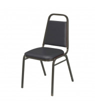 "KFI Seating 810 Vinyl 1.5"" Padded Seat Stacking Chair (Black Ebony / Black )"
