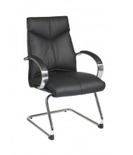 Office Star Deluxe Top Grain Leather Mid-Back Guest Chair (Model 8205)