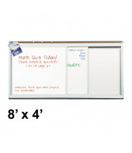 Best-Rite 822HH 2 Track/2 Panel 8 ft. x 4 ft. Horizontal Sliding Porcelain Whiteboard