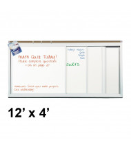 Best-Rite 824HM 4 Track/4 Panel 12 ft. x 4 ft. Horizontal Sliding Porcelain Whiteboard