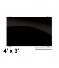 Best-Rite 84062 Visionary Black 4 ft. x 3 ft. Magnetic Glass Whiteboard