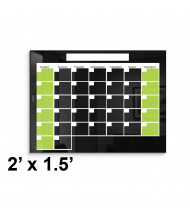 Best-Rite 2 x 1.5 Monthly Black Magnetic Glass Whiteboard Calendar