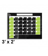 Best-Rite 3 x 2 Monthly Black Magnetic Glass Whiteboard Calendar