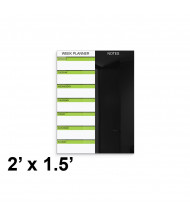 Best-Rite 2 x 1.5 Weekly Black Magnetic Glass Whiteboard Planner