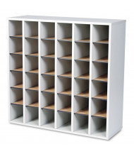 Safco 36-Compartment Wood Mail Sorter (Shown in Grey)