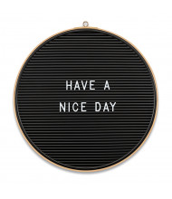 Mooreco Essentials 1' Round Bamboo Frame Letter Board, Black