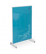 Mooreco Essentials Hierarchy 4' x 6' Grow & Roll Magnetic Glass Reversible Mobile Whiteboard (Shown in Blue)