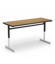 "Virco 60"" x 24"" Computer Classroom Activity Table (medium oak)"