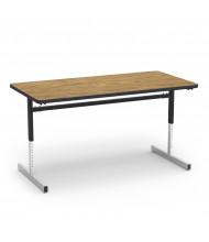 "Virco 60"" x 30"" Computer Classroom Activity Table (medium oak)"