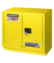 Justrite Fume Hood Flammable Storage Cabinets (Shown in Yellow, Padlock Not Included)