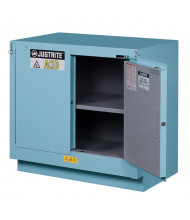 Justrite ChemCor Fume Hood Self-Closing Corrosive Chemical Storage Cabinets (Shown in Blue)